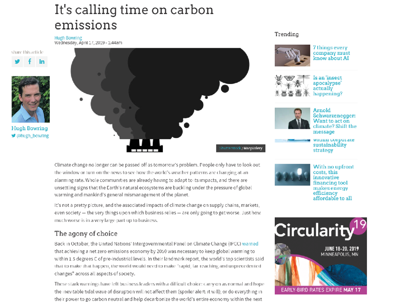 It's calling time on carbon emissions